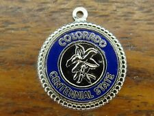Vintage sterling silver COLORADO CENTENNIAL STATE DISC TRAVEL SHIELD charm #M