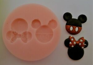 MICKEY & MINNIE MOUSE HEADS SILICONE MOULD FOR CAKE TOPPERS, CHOCOLATE, CLAY ETC