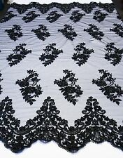 Black Bridal Floral Mesh w/ Embroidery Hand Beaded Lace Fabric -Sold by the yard