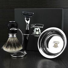 4Pc pronto all'uso Men's Set da barba con rasoio Gillette Mach 3 & Micro-punta Brush