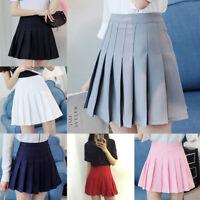 Women Girls Tennis High Waist Skater Pleated Mini A-Line Flare Skirt Short Dress