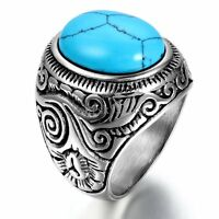 Vintage Men's Oval Manmade Turquoise Stainless Steel Antique Ring US Size 7-12