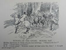 Hunt, Fox & Hounds ECHOES OF THE CHASE - BOXING DAY Antique Punch Cartoon
