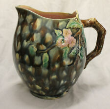 Antique Large Victorian Majolica Pitcher Etruscan Hawthorn