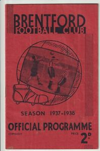 Brentford V Leicester City Rare Division One Programme 1937/38