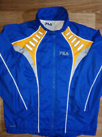 Fila 90's Vintage Mens Tracksuit Top Jacket Windbreaker Reflective Blue Orange