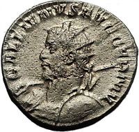 GALLIENUS 257AD Cologne EAGLE STANDARDS Ancient Silver Roman Coin RARE i58534