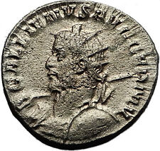 GALLIENUS 257AD Cologne EAGLE STANDARDS Ancient Silver Roman Coin RARE i58534