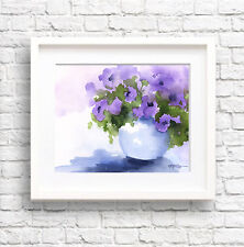 Purple Flowers Abstract Watercolor Painting Floral 11 x 14 Art Print by DJR