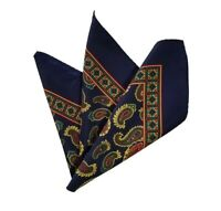 NEW - 100% Silk Pocket Square - Navy with Gold Paisleys 12.5 x 12.5