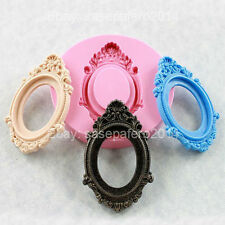 Oval Vintage frame silicone mold for fondant, chocolate clay Molde marco ovalado