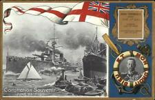King George Coronation 1911 Naval Battleships & Tug TUCK #9863 Postcard