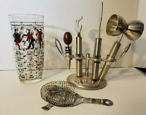 Vintage 1950s GLASS COCKTAIL SHAKER Black Red RECIPE Bar Lot Stainless Steel