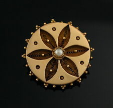 Antique 14k Gold Victorian Etruscan style Flower Pearl Pin