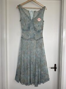 New REBECCA TAYLOR Silk Floral Beaded Detail Dress Size 6 (Aus 10) #20091