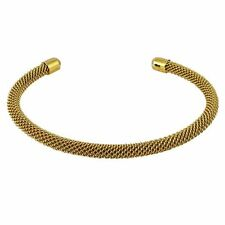 Sterling Silver Gold Plated Mesh Open Clasp Teens Womens Bangle Bracelet 57mm
