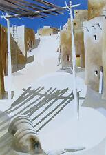 "James Harrill, ""Shadows & Pueblo"", Offset ltd ed, 31""h x 21.25""w image, Taos, NM"