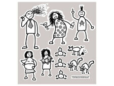 Dysfunctional Stick Family Cut Outs Complete Set (Bumper Stickers)