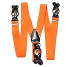 New Y back Men's Orange Suspender Braces elastic clips buttons wedding prom