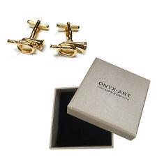 Mens Gold Bugle Cufflinks & Gift Box By Onyx Art - Brass Band