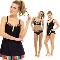 Ladies Rainbow Trim Black Swimming Costume Bikini Swimwear Swim Dress Size 10-22