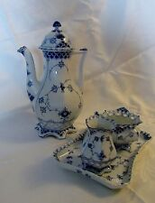 Royal Copenhagen Full Lace Coffee Set: Coffee Pot, cream and sugar and tray