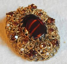 LARGE VINTAGE TOPAZ RHINESTONES AND FAUX TORTOISE SHELL BROOCH SIGNED W. GERMANY