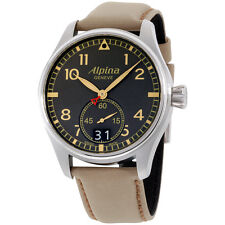 Alpina Startimer Pilot Big Date Grey Dial Leather Strap Men'S Watch Al280Bgr4S6