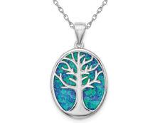 Laboratorio creado azul ópalo plata esterlina colgante árbol de la vida con cadena