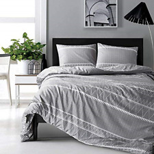 Hyprest Bohemian King Duvet Cover Set Lightweight Soft Grey Triangle 3Pc Cover