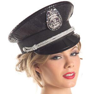 Sequin Police Hat Badge Captain Officer Cadet Cop Costume Black BW217