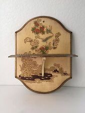 Vintage Japanese Oriental Folding Wall Shelf Antique Wood Carved Plaque