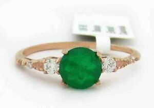 GENUINE EMERALD, W/SAPPHIRE & DIAMONDS RING 10K ROSE GOLD ** Free Certificate **