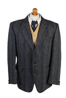 Harris Tweed Blazer Jacket Windowpane Country Vintage Grey Size XL-HT2858