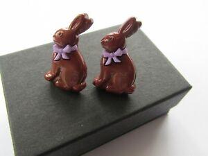 Handmade Cute Easter Milk Chocolate Brown Bunny Rabbit Stud Earrings - Boxed