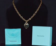Authentic Tiffany & Co. 750 18K Solid Gold Heart Pendant Chain Necklace W/ Box