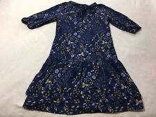 Gap Womens S Small Navy Blue Purple Yellow Floral Bow Tiered Hem Dress