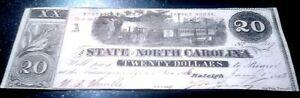 STUNNING UNCIRC 1863 N CAROLINA $20 w TRAIN in GORGE FUNDABLE in CSA BONDS! RARE