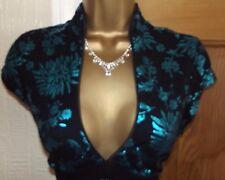 FAB ❤️ JANE NORMAN Black Turquoise oriental pencil wiggle dress size 8