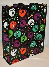 Halloween Trick Or Treat Bag 16 x 13 Skulls & Bones Black Large Candy Tote NEW