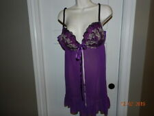 CACIQUE Plus Size 2X 18 20 Babydoll Lingerie Semi-Sheer Purple black