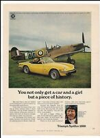 1973 Yellow TRIUMPH SPITFIRE 1500 Print Ad ~ Ginger Lacey RAF Ace