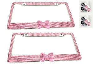 2 x Pink Bow Tie Bling Diamond Crystal Metal License Plate Frame For BMW Mini