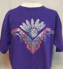 Kokopelli Southwest Metallic Feathers Unisex Sz M T-Shirt Purple 100% Cotton EUC