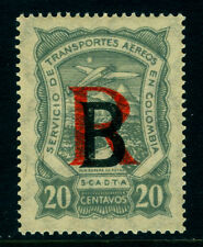"""COLOMBIA 1923 Airmail SCADTA ovpt.  BELGIUM 20c """"R"""" 12mm high Sc# CFLB1 mint MNH"""