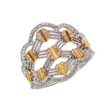 Diamond Right Hand Nail Screw Cocktail Ring Wide 14K Two Tone Gold Pave Round