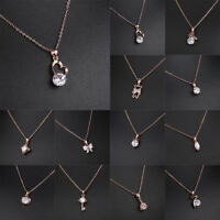 Fashion Women White Choker Wedding Jewelry Pendant Rose Gold Necklace