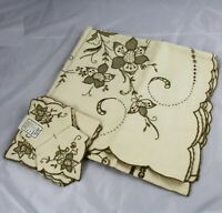 Vintage Madeira Embroidery Linen Table Cloth 51 x 51 & 6 Napkins 11 x 11 Unused