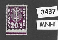 #3437  Danzig Germany MNH Sc J22  20M Mark 1923 Postage Due Free State Poland