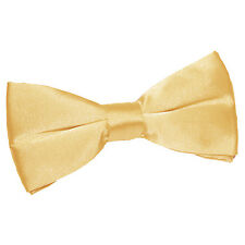 DQT Satin Plain Solid Pale Yellow Formal Classic Mens Pre-Tied Bow Tie